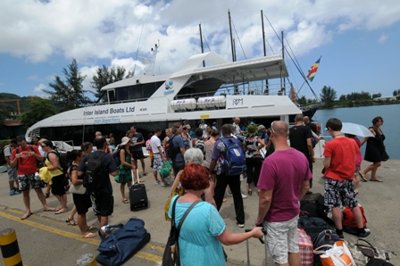 Passengers waiting to board the Cat Cocos at the Inter-Island Quay on Tuesday afternoon