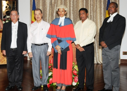 In a souvenir photograph with President Michel, Vice-President Danny Faure, CJ Egonda-Ntende and Court of Appeal President Francis MacGregor