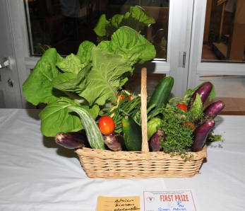 Locally grown food on display in a past agricultural show.