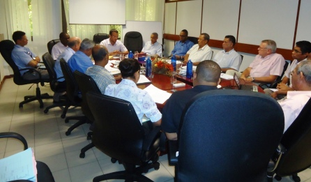 Minister Lionnet addressing the Planning Authority board during its first meeting held recently
