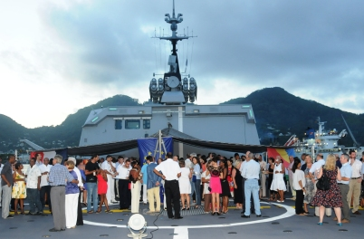 Guests during the reception on board the Surcouf in Port Victoria on January 3
