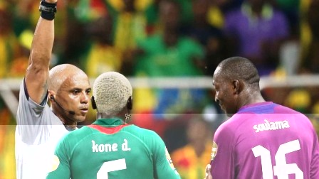 Referee Camille in action during the Ethiopia/Burkina Faso clash