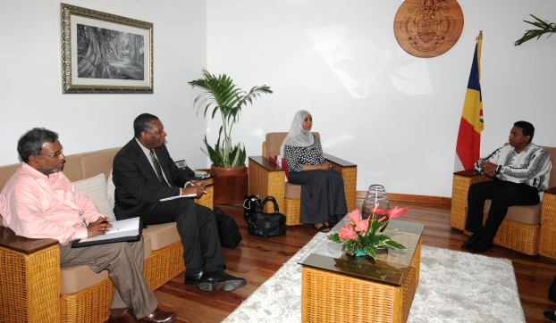 VP Faure (right) in talks with the WTO delegation yesterday at State House