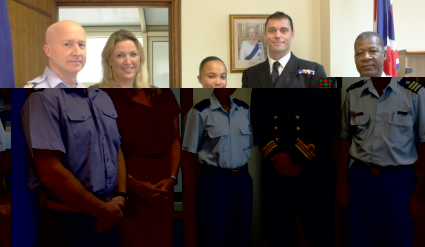 Flight Sergeant Marshall, BHC Skoll, OCdt Connie Anthony, Lt. Com. Simpson and Lt. Col. Adeline