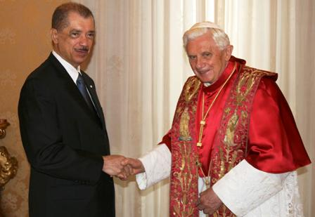 President Michel during one of his meetings with His Holiness Pope Benedict XVI