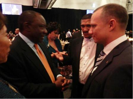 Minister Adam discussing with Deputy President of the African National Congress, Cyril Ramaphosa, and Deputy Minister Marius Fransman following the State-of-the-Nation address