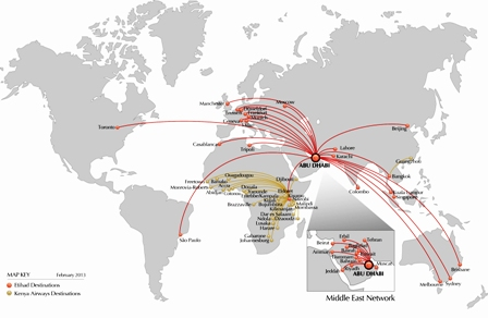 Map showing the two airline's network coverage