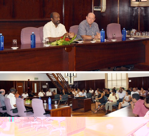 The meeting between Minister Meriton and staff of the Ministry of Tourism and Culture