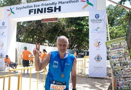 Lutz Sproessig ran his 100th marathon in Seychelles on Sunday