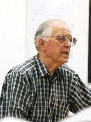Bill McAteer speaking to the Praslin audience at the Vijay International School on Praslin