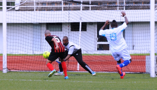 Malagasy Clariel (number 19) scored on his debut for St Louis Suns in a 1-1 draw with St Michel