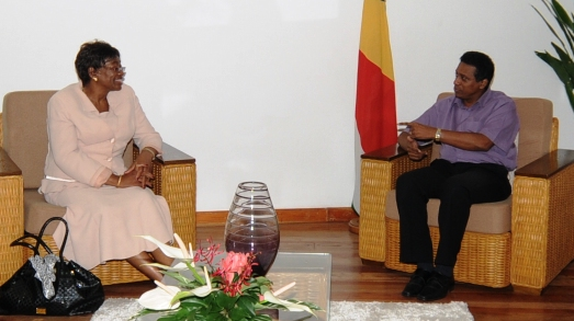 Mrs Hamutenya in talks with Vice-President Faure yesterday at State House