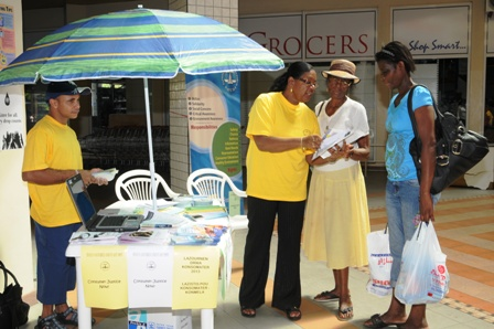 Various kiosks were set up around town yesterday where consumers could seek more information on their rights