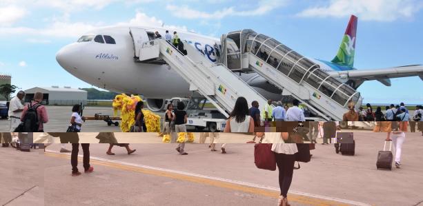 Visitors boarding the aircraft yesterday as Air Seychelles marked its inaugural flight to Hong Kong