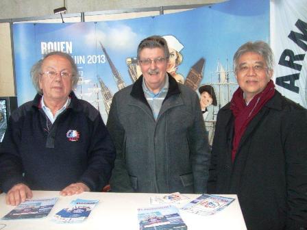 Patrick Herr, président de l'ARMADA de Rouen qui attire 10 millions de visiteurs, le Consul Francis Herbet, et SE l'Ambassadeur Bernard Shamlaye