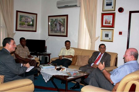 Minister St Ange during his meeting with Mr Khelef