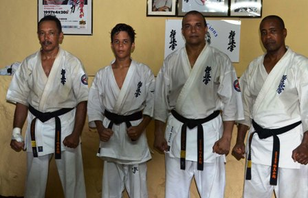 From left to right: Shihan Verghese, sempai Pragassen, shihan Phillip and shihan Françoise