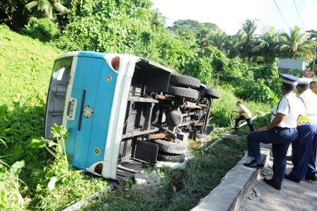 The state in which the bus was in following the accident