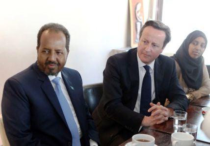 Somali President Hassan Sheikh Mohamud with British Prime Minister David Cameron