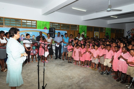 Minister Mondon addressing the children yesterday as she officially launched Child Protection Week