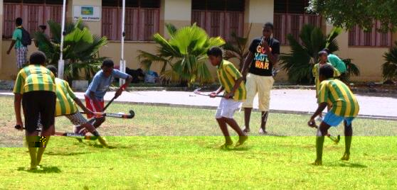 Action from one of the boys' matches