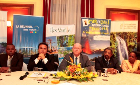 Minister St Ange (centre) during the extraordinary meeting at which he was re-elected president of the Vanilla island group