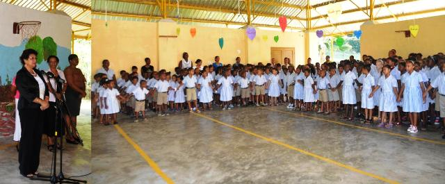 Minister addresses Port Glaud Primary Students on first day of Term 2