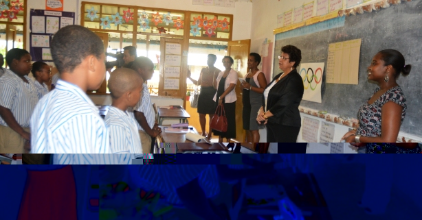Ministerial Delegation meets P6 Class at Grand Anse Primary