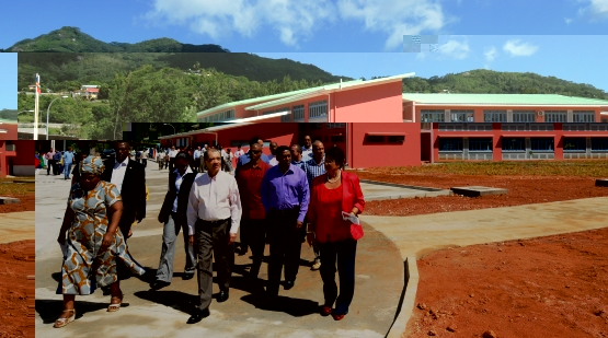 Guests touring the premises of the newly built school at Ile Perseverance during its official opening last week. In only the last decade 10 new schools have been built