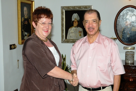 Mrs Hellwig-Bötte during her farewell call on President Michel yesterday at State House