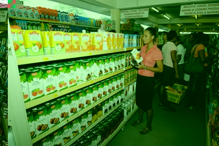 A wide range of juices to choose from at the Ramajayam Dockland Supermarket