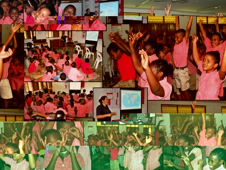 Jumping for excitement at Plaisance primary for our oceans © Bettina Hortence