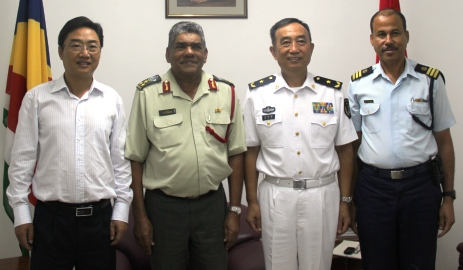 Admiral Yuan with Brigadier Payet. Also in the photo are Ambassador Shi (left) and Lt Col Michael Rosette of the Seychelles Coastguard