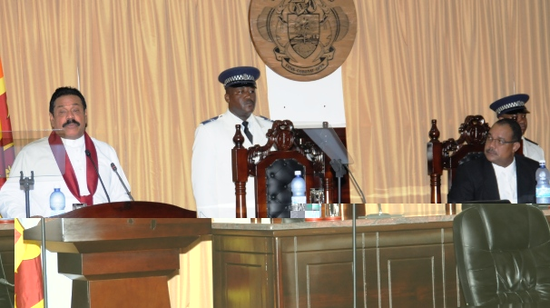 President Rajapaksa (at podium) addressing the National Assembly