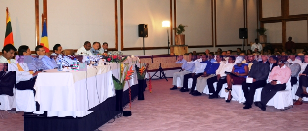 The business forum yesterday was graced by the presence of Sri Lankan President Mahindra Rajapaksa (seated 4th from left at table)