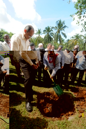 Guests watch as President Rajapaksa shovels the topsoil on the seed