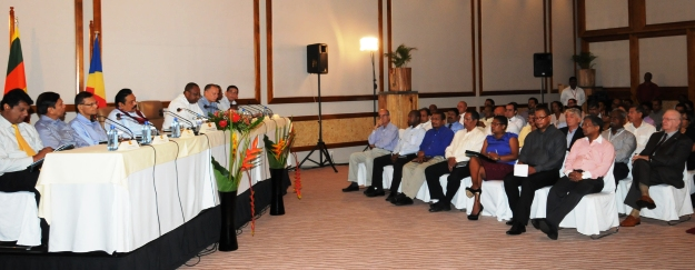 The Sri Lankan President attending a business forum at the Kempinski Resort & Spa at Baie Lazare