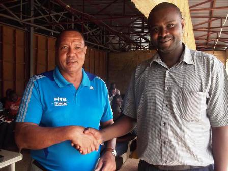 Mr Denis in Uganda with the Ugandan Volleyball Federation president Nasiwu Zaid Sadik