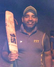 Man-of-the-match Parthi of the 777 cricket team