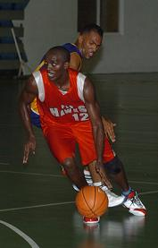 Omony (no.12) led PLS Hawks in Sunday's win against Premium Cobras