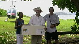 The first transfer of the 'Zwazo Linet' was to Cousine Island. From left to right: Elvina Henriette Payet from the Ministry of Environment, Jock Henwood and Gary Ward of Cousine Island. Photo by Elvina Henriette Payet