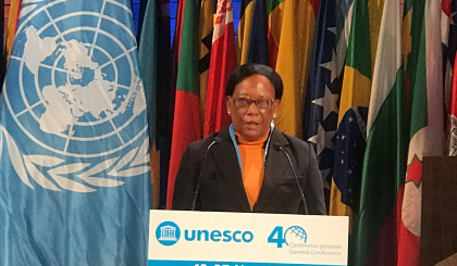Minister Simeon addresses Unesco's general conference