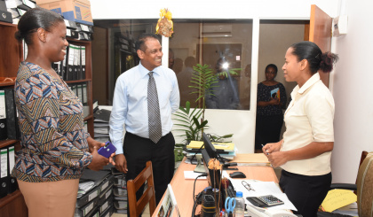 Lands and Housing Minister Billy Rangasamy visits Property Management Corporation